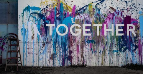 Art piece with together written