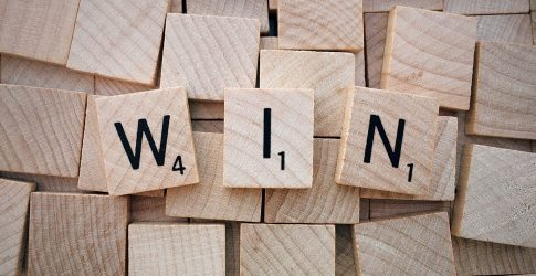 win written in scrabble